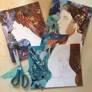 portraits à la manière de l'artiste Derek Gores. Dessin, découpages et collages de magazines, avec les élèves du cours ado de l'atelier croqu'art de villers-cotterêts
