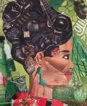 portrait tout en collages de magazines à la manière de l'artiste Derek Gores, réalisé au cours adolescent de l'atelier croqu'art, dirigé par coraline van butsele à villers-cotterêts