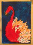 dessin de cygne réalisé en cours enfant à l'atelier croquart dirigé par coraline van butsele, à villers-cotterets. cygne fait de peinture et de collages de papiers colorés.