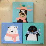 acryliques sur toiles réalisée en stage enfant pendant les vacances d'hiver, aux ateliers créatifs de Villers-Cotterets