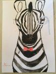 animaux accessoirisés aux crayons de couleur aquarellables, au cours enfant de l'atelier croquart, à villers-cotterêts