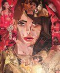 portrait à la manière de derek gores, réalisé tout en collage de papier de magazine, au cours adolescent de l'atelier croquart de villers-cotterets, encadré par coraline van butsele