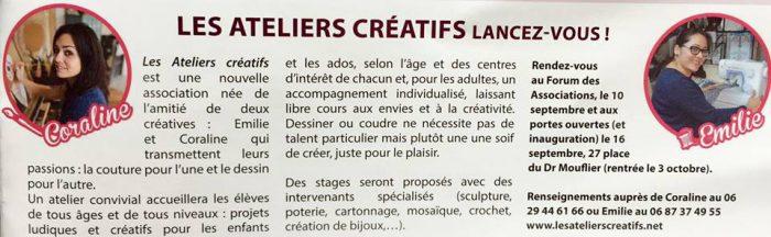 article sur les ateliers créatifs, nouvelle association d'art creatif de villers-cotterets, dans le villers info de juillet à septembre 2017