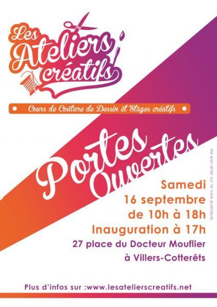 portes ouvertes de l'association les ateliers créatifs à villers-cotterêts le samedi 16 septembre de 10h à 18h inauguration à 17h