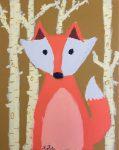 dessin de renard réalisé à la peinture acrylique en stage enfant