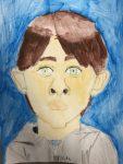 autoportrait réalisé en cours de dessin enfant, encadré par coraline Van Butsele, aux crayons de couleur aquarellables, aux ateliers créatifs de villers-cotterets