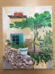 acrylique sur toile réalisée en cours adulte, encadré par coraline van butsele aux ateliers créatifs de villers-cotterêts