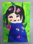 dessin de poupées kokeshi réalisés en cours enfants, encadré par Coraline Van Butsele, aux ateliers de Villers-Cotterêts.