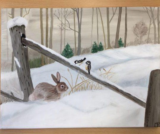 peinture à l'huile réalisée en cours de dessin adulte, encadré par Coraline Van Butsele, aux ateliers créatifs de Villers-Cotterêts