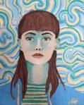 Autoportrait à la manière de Van Goch, réalisé à la peinture acrylique en cours ado, encadré par Coraline Van Butsele, aux Ateliers Créatifs de Villers-Cotterêts.