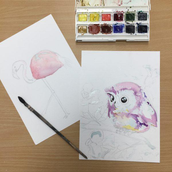 oiseaux réalisés à l'aquarelle en cours ado, aux ateliers créatifs de villers-cotterets