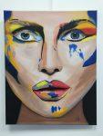 portrait à la peinture acrylique réalisé en cours adulte aux ateliers créatifs de villers-cotterêts en cours de dessin adulte encadré par Coraline Van Butsele