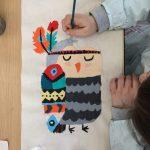 Stage tote Bag, composé d'un cours de peinture sur tissu encadré par Coraline Van Butsele et d'un cours de couture encadré par Emilie Bêchepois.