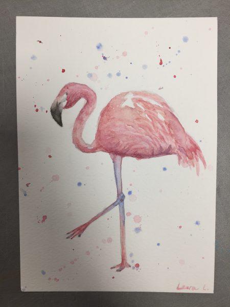 Oiseau Aquarelle Laura Flamant Rose Les Ateliers Creatifs