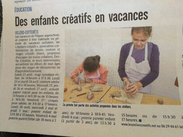 article de presse dans le journal l'union annonçant les stages des vacances de pâques organisés par les ateliers créatifs de villers-cotterêts