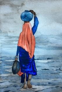 femme à l'aquarelle réalisé en cours de dessin aux ateliers créatifs de villers-cotterets avec coraline van butsele