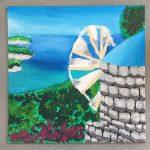 paysage réalisé à la peinture acrylique en cours de dessin enfant, encadré par Coraline Van Butsele aux ateliers créatifs de villers-cotterêts