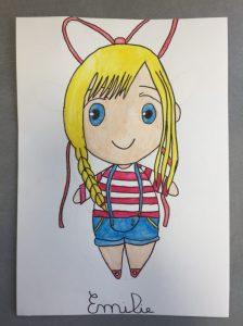 manga réalisé en cours de de dessin enfant aux ateliers créatifs de villers-cotterets.