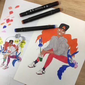 illustrations réalisées aux feutres à alcool au sein des ateliers créatifs, en cours de dessin encadré par Coraline Van Butsele