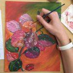 acrylique sur toile réalisée en cours ado, encadré par coraline van butsele aux ateliers créatifs de villers-cotterêts