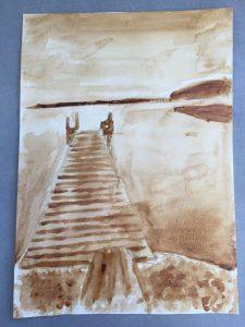 Dessin aquarelle au café réalisé en cours ado aux ateliers créatifs de Villers-Cotterêts