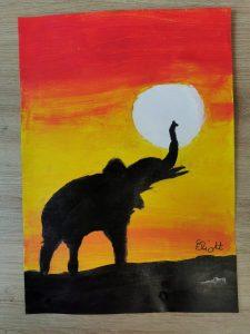 Dessin enfant : Coucher de soleil afrique et silhouette d'animaux de la savane. Acrylique et encre de chine aux ateliers créatifs de Villers Cotterets