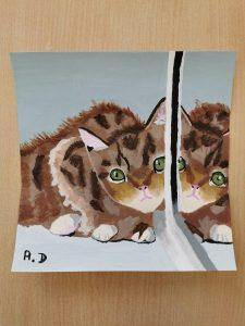 peinture d'animaux réalisées en cours de dessin ado encadré par Coraline Van Butsele aux ateliers créatifs de Villers-Cotterets