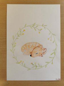 Animaux de la forêt. dessin à l'aquarelle réalisé en cours enfants aux ateliers créatifs de Villers-Cotterêts.