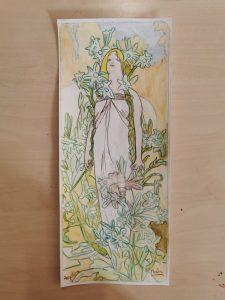 Reproduction de Mucha réalisée à l'aquarelle aux ateliers créatifs de Villers-Cotterêts. Cours de dessin encadré par Coraline Van Butsele