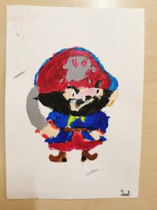 dessin de pirates à la peinture acrylique réalisés en cours de dessin, encadré par Coraline Van Butsele aux ateliers créatifs de Villers-Cotterêts