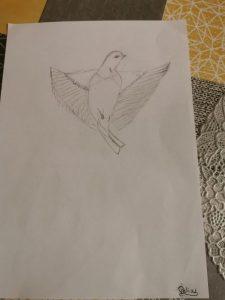 dessin d'oiseau challenge confinement des élèves des ateliers créatifs
